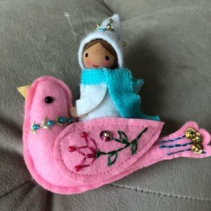 Other - Cute gnome girl on bird ornament